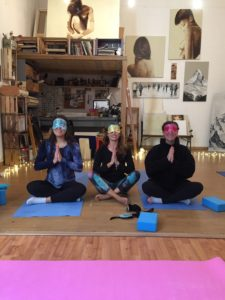 Yoga blindfold in the artist studio
